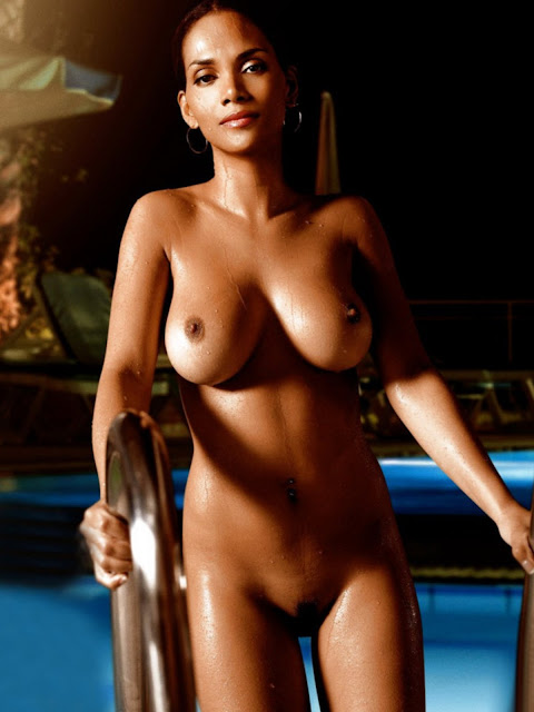 Halle Berry showing her amazing big tits and pussy Playboy