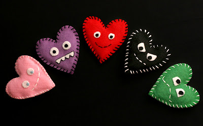 Cute felt heart craft pattern ideas