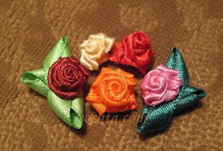 Цветы из ленты.  Розы.  Мастер-класс.