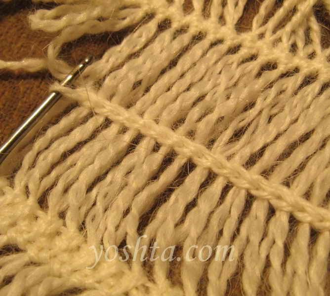 Вязание на вилке. Соединение полос с применением дополнительной нити