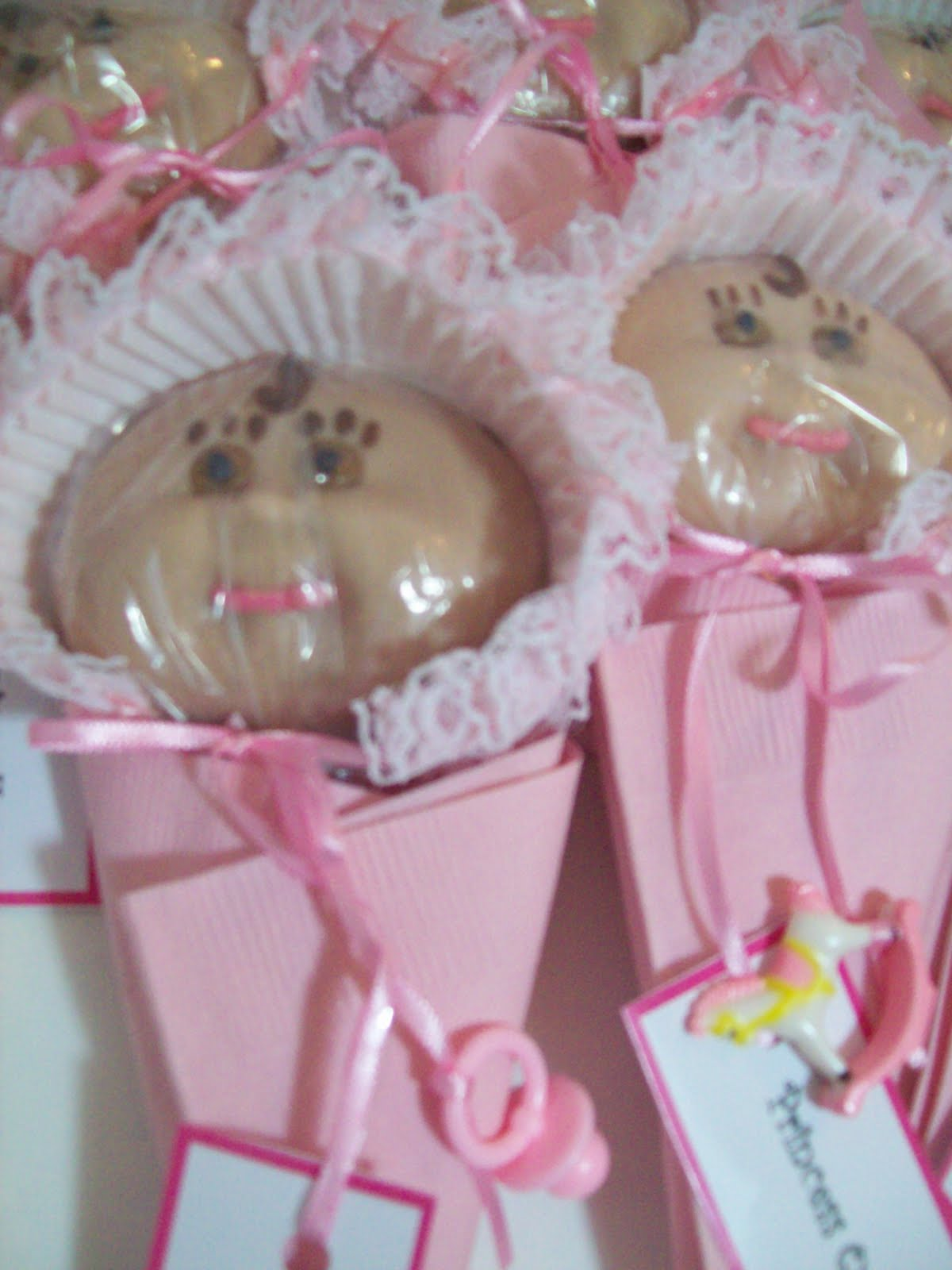 cookies chocolate bonnet babes girl pink frilly baby shower favors