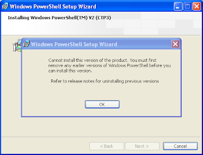 Cannot install this version of the product. You must first remove any earlier versions of Windows PowerShell before you can install this version. Refer to install notes for uninstalling previous versions.