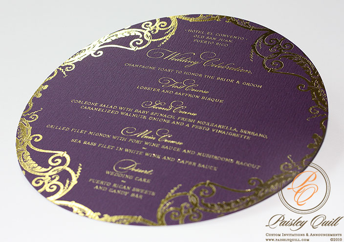 The menus were diecut to fit chargers and are gold foiled using the same