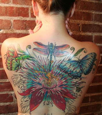 Beautiful Dragonfly, Butterfly and Flower Full Back Tattoo