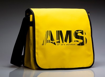 We're shipping an Amsterdam Airport Belgium AMS messenger bag