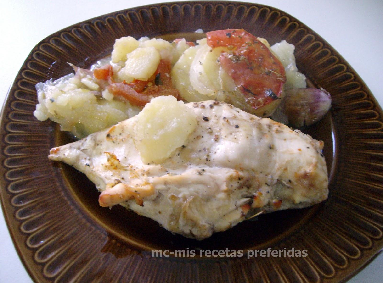 Pechugas de pollo al horno - Pechugas de pollo al horno con patatas ...
