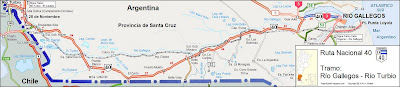 Mapa Ruta 40 tramo Gallegos Turbio