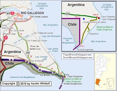 Ruta 40 inicio en Cabo Virgenes Mapa