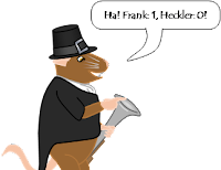 "Frank-the-mouse, still in his Thanksgiving clothes, points and laughs, ""Ha! Frank: 1, Heckler: 0!"""