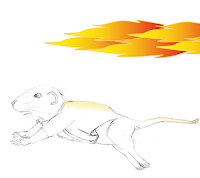 My mouse avatar runs on all fours. A fireball rages behind him.