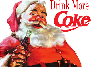"""Drink More Coke."" The phrase has been photoshopped behind an image of the Coca-Cola Santa Claus taken from a 1930's advertisement"
