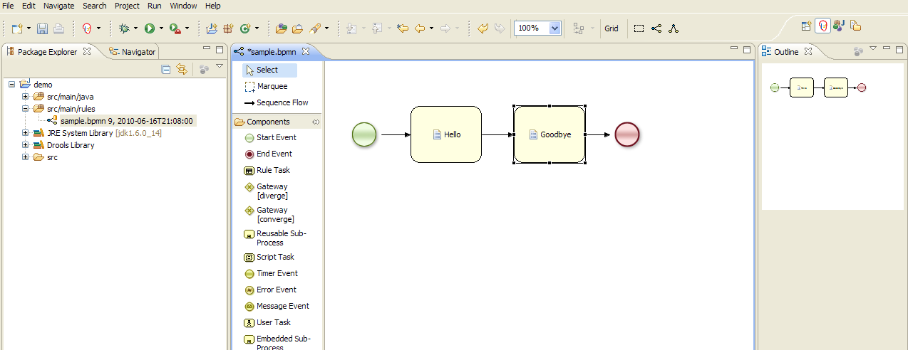Drools jbpm bpmn2 authoring in drools guvnor bpmn2 being edited in eclipse ccuart Choice Image