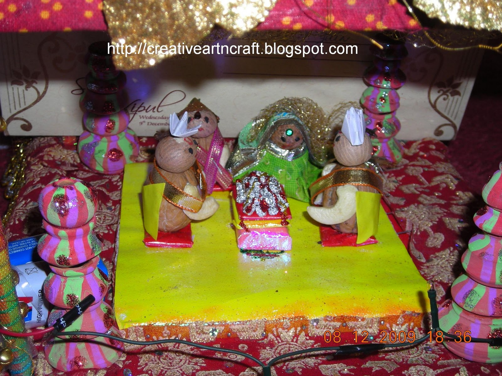Anu 39 s art and crafts wedding card mandap decoration for Decoration from waste