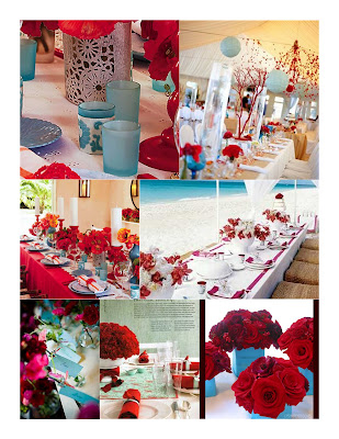 blue wrapped vases filled with luscious red flowers at Project Wedding