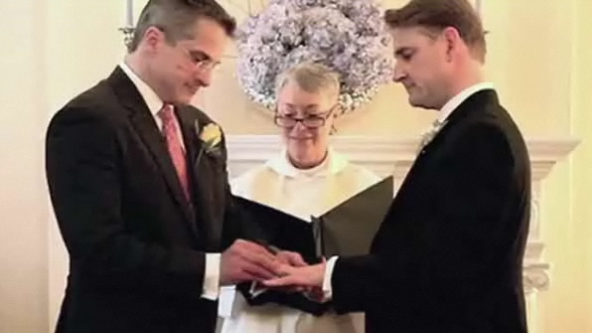 MSNBC LeanForward GayMarriage ... a picture of two men getting married is shown.