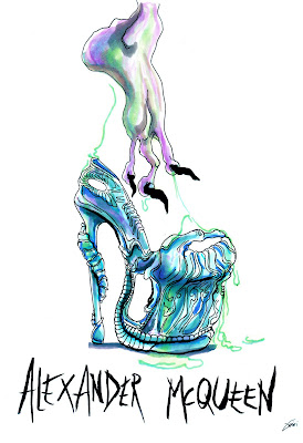 Achraf Amiri, Achraf Amiri ilustração, Achraf Amiri ilustrador, ilustração moda, desenho moda, ilustração sapato Alexander McQueen