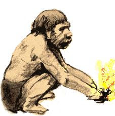 Caveman makes fire...