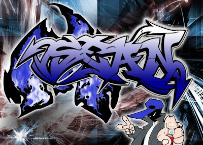 graffiti font, blue graffiti