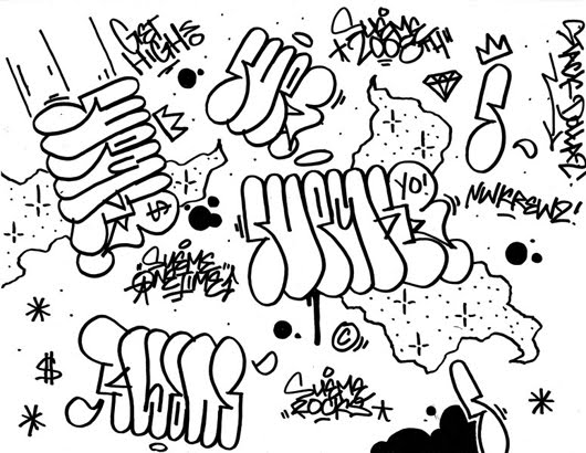 graffiti font coloring pages - photo#19