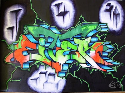 3d graffiti sketches. 3D Graffiti Sketches colour