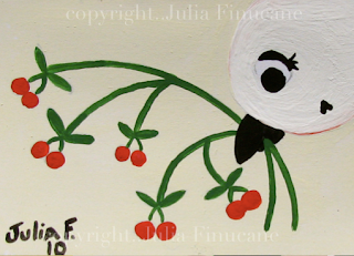 white cherry bird aceo