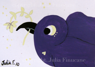 purple sparrow bird aceo