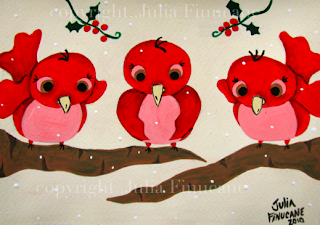 whimsical holiday holly berry bird christmas painting by artist julia finucane