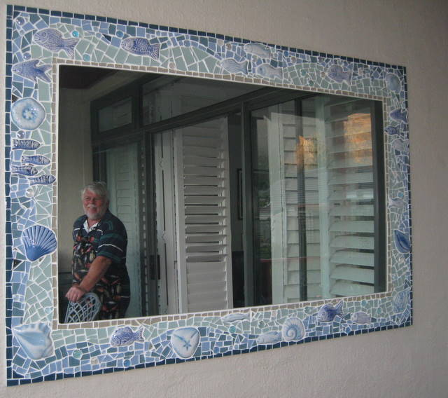 my happy customer reflected in the mirror - Mosaic Picture Frames
