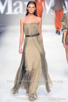 бежово-зелена дълга рокля