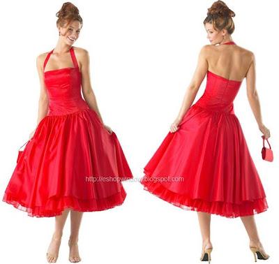 яркочервена бална рокля