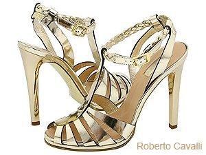 Атрактивни златни сандали Roberto Cavalli