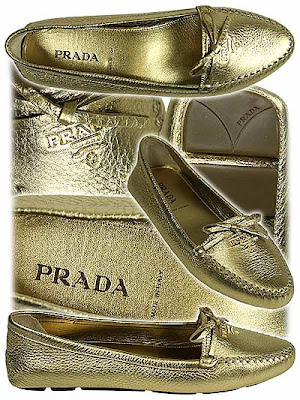 златни пантофки на Prada