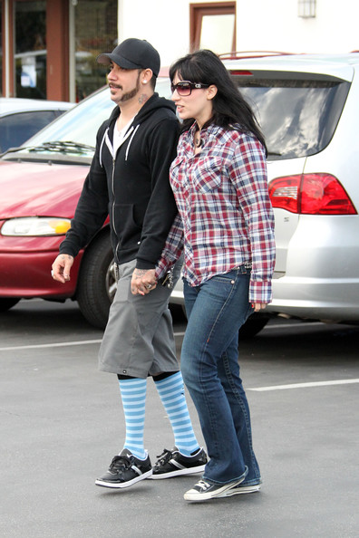 Backstreet Boy AJ Mclean wears a fetching pair of knee length striped socks ...