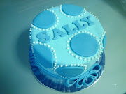 A lovely baby blue polkadot cake for the birthday girl Sally.