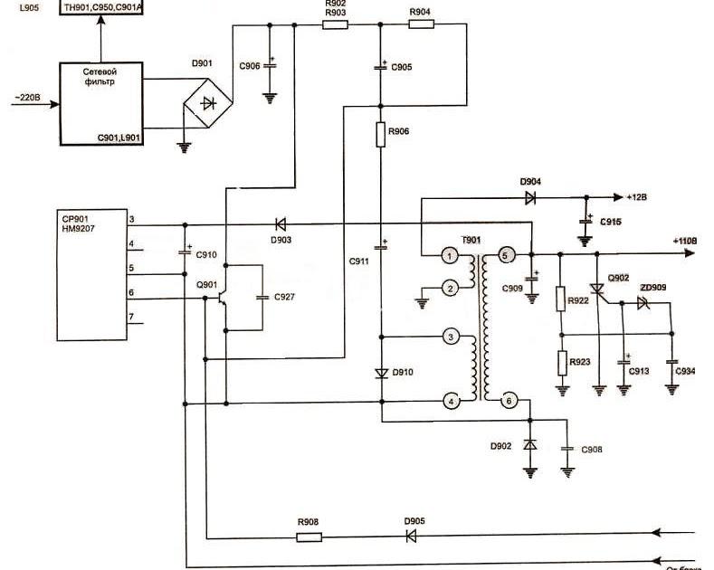 Схема блока питания телевизора хитачи