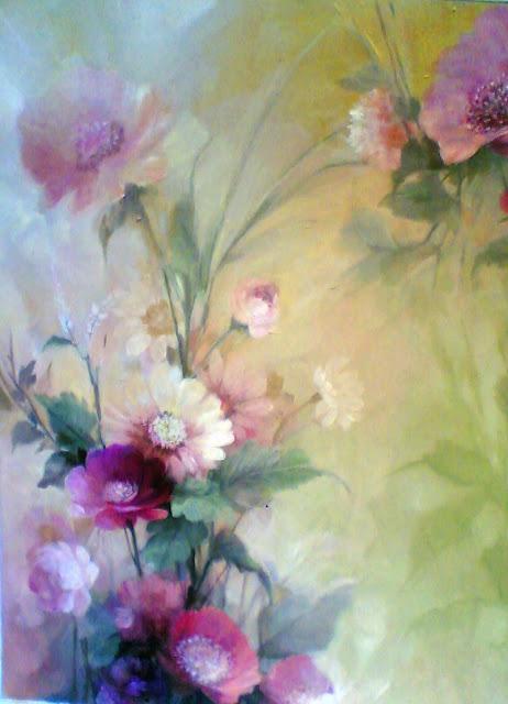 Lukisan Bunga Lilac,lukisan bunga alamanda lukisan bunga ros,lukisan bungacat minyak
