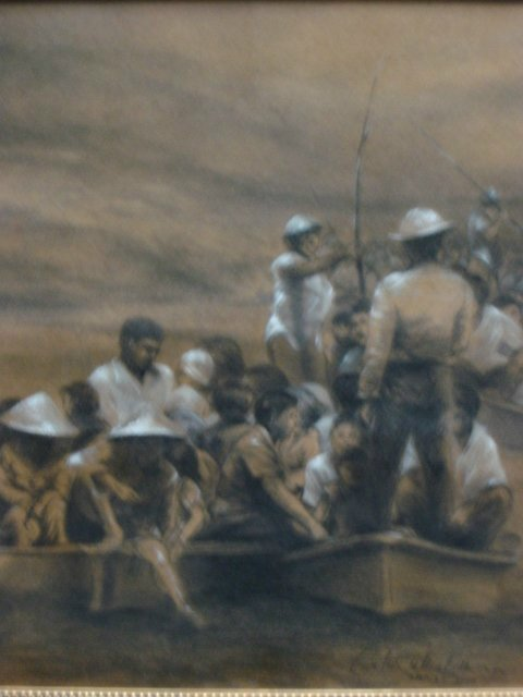 Lukisan,lukisan cat minyak,lukisan krayon,lukisan mengungsi,lukisan,lukisan bajir,lukisan bencana alam