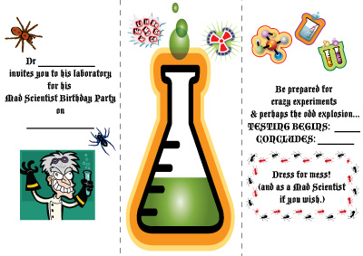 Mad Scientist Birthday Party haha GLAMOUR DROPS – Mad Scientist Birthday Party Invitations