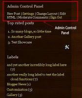 Admin Control Panel di blog