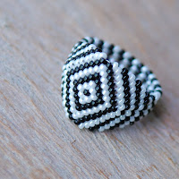 Zebra - Beaded Ring 1