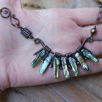 Pearls Fan Necklace - Oxidized Copper Artisan Necklace on Hand