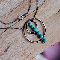 Copper Circles and Turquoise Wire Wrapped Necklace 1