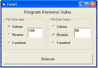 program konversi suhu dengan VB 6.0