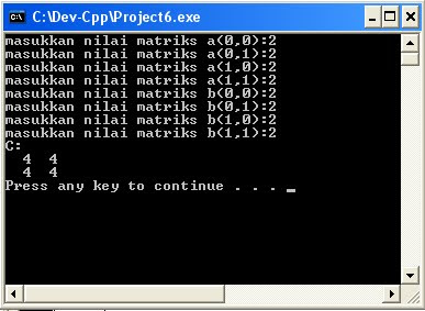 program penjumlahan matriks dengan bahasa C++