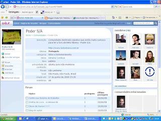 Comunidade no Orkut do livro Poder S/A - Histórias Possíveis do Mundo Corporativo, de Beto Ribeiro.