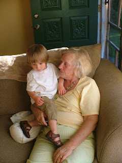Mom with my grandson, her great grandson, River.