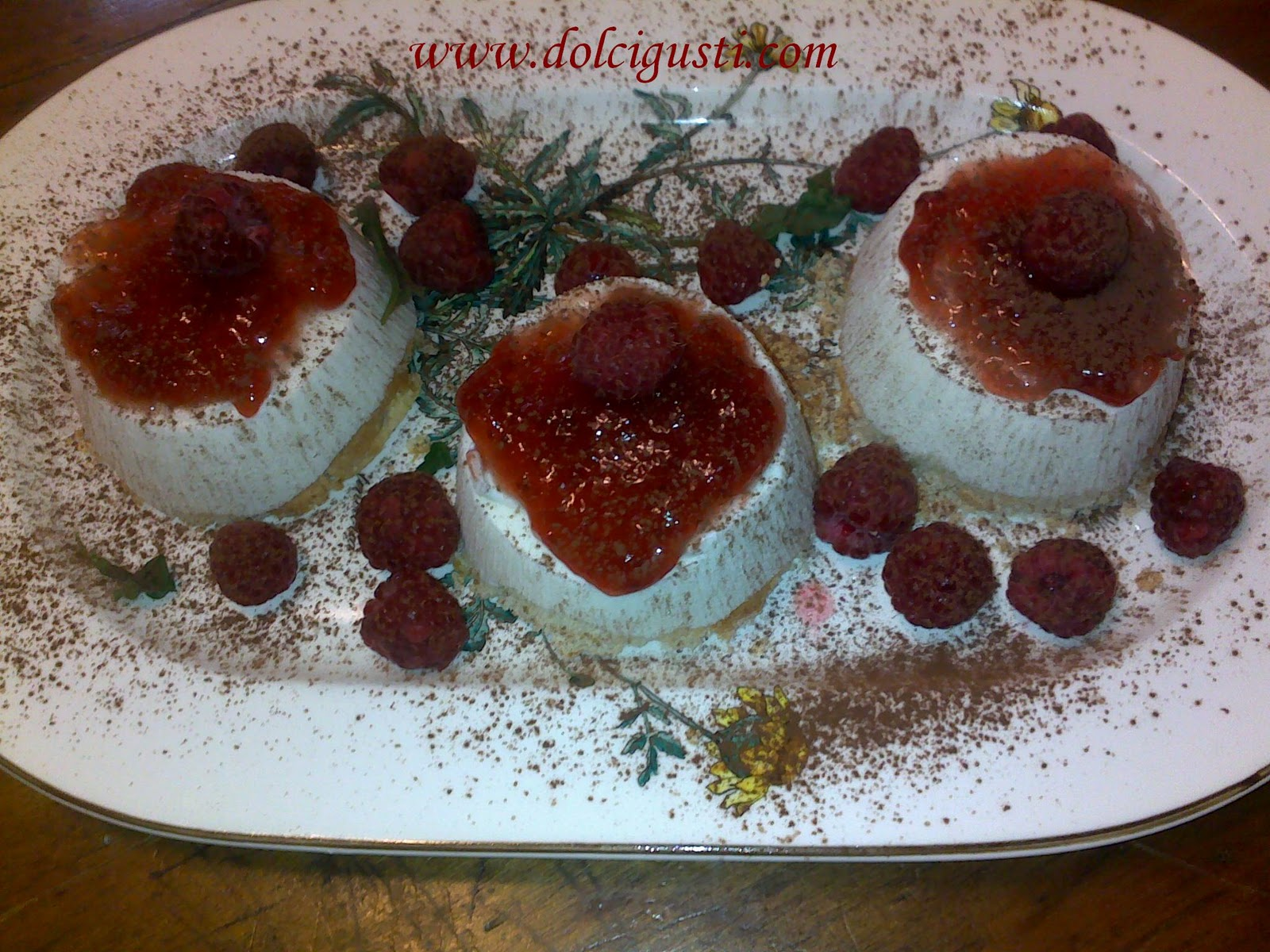 chocolate and cakes: ricotta and raspberry pudding