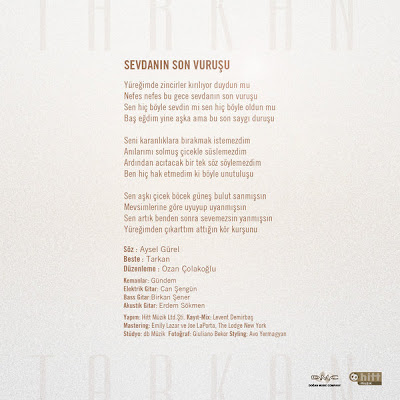 Back cover to Tarkan's 2010 song