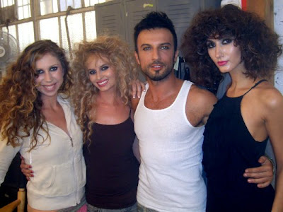 4 December 2009 Tarkan with models, Katie Johnson, Jodi Johnston, and Tanja Pesce at David LaChapelle's Hollywood studio