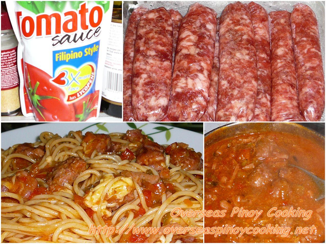 Pinoy Spaghetti with Sweet Longganisa - Cooking Procedure